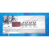 LA Spas Tropical Spas K-18 Topside Panel Touchpad Overlay Decal - 4 Button - 1 Pump, with Air