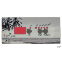 LA Spas Tropical Spas K-18 Topside Panel Touchpad Overlay Decal - 3 Button - 1 Pump, No Air
